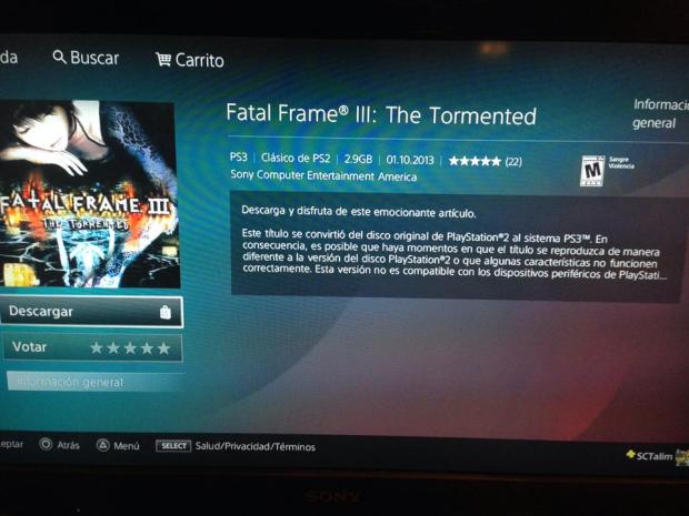 Fatal Frame III The Tormented en PSN